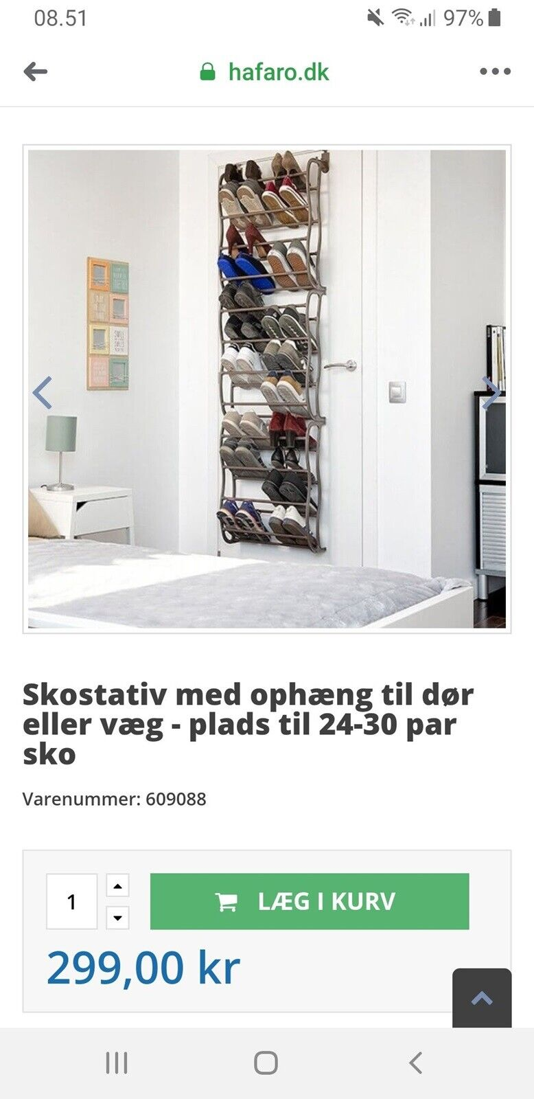 Skostativ med ophæng til dør eller væg plads til 24 30 par sko