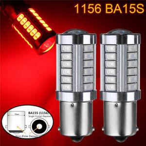 2x-1156-BA15S-33-LED-5730-SMD-Rot-Auto-Ruecklicht-Bremslicht-Rueckfahrlicht-Birne