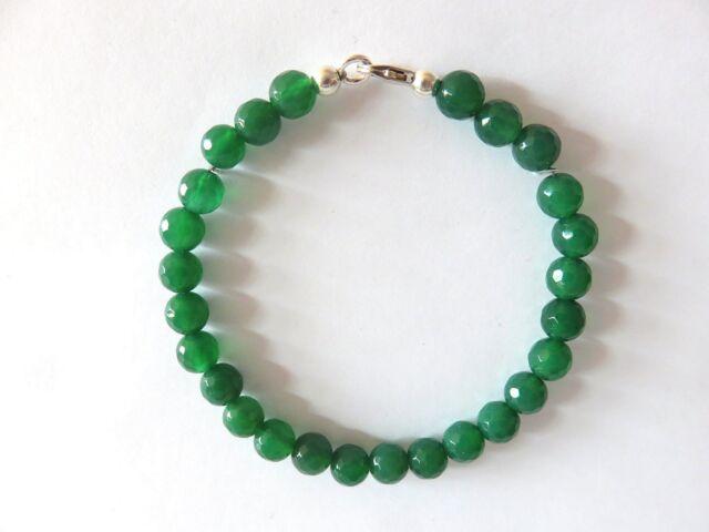 Grünachat facett. Armband 17 cm 925 Silber Green Onyx  Bracelet Nr. 5129