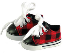 "Red/Black Plaid Sneakers Gym Shoes for 18"" American Girl BOY Logan Doll Clothes"