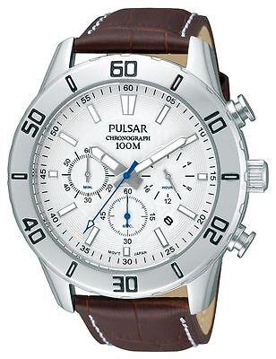 Pulsar by Seiko PT3433X1 Mens Quartz Chronograph Brown Leather Strap Watch 3566