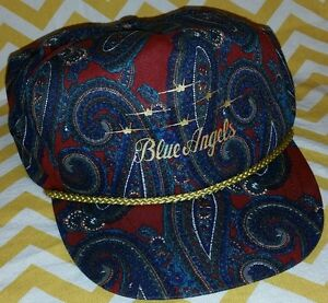 47ea725fa50 VINTAGE 80s BLUE ANGELS SNAPBACK TRUCKER GOLD CAP HAT GEEN BILL ...