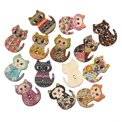 10 Wooden Novelty Cat Design Buttons 3cm Sewing Button art crafts