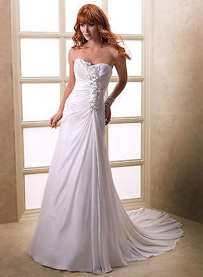 Elegant Chiffon Wedding Dresses Size 6 8 10 12 14 16 18 Custom Made