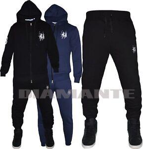 f67211b5cd Dettagli su Tuta intera uomo Polo England Pantalone tuta + felpa con  cappuccio nera blu PU
