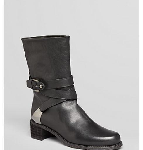 550 NWB Stuart Weitzman Short Boots Nuranchdressing Black Leather 5.5M GORGEOUS