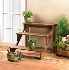 rustic wooden steps three tiered potted plant stand display decor 10017255 ebay. Black Bedroom Furniture Sets. Home Design Ideas