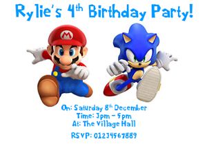 Details About Personalised Photo Paper Card Party Invites Invitations SONIC THE HEDGEHOG MARIO