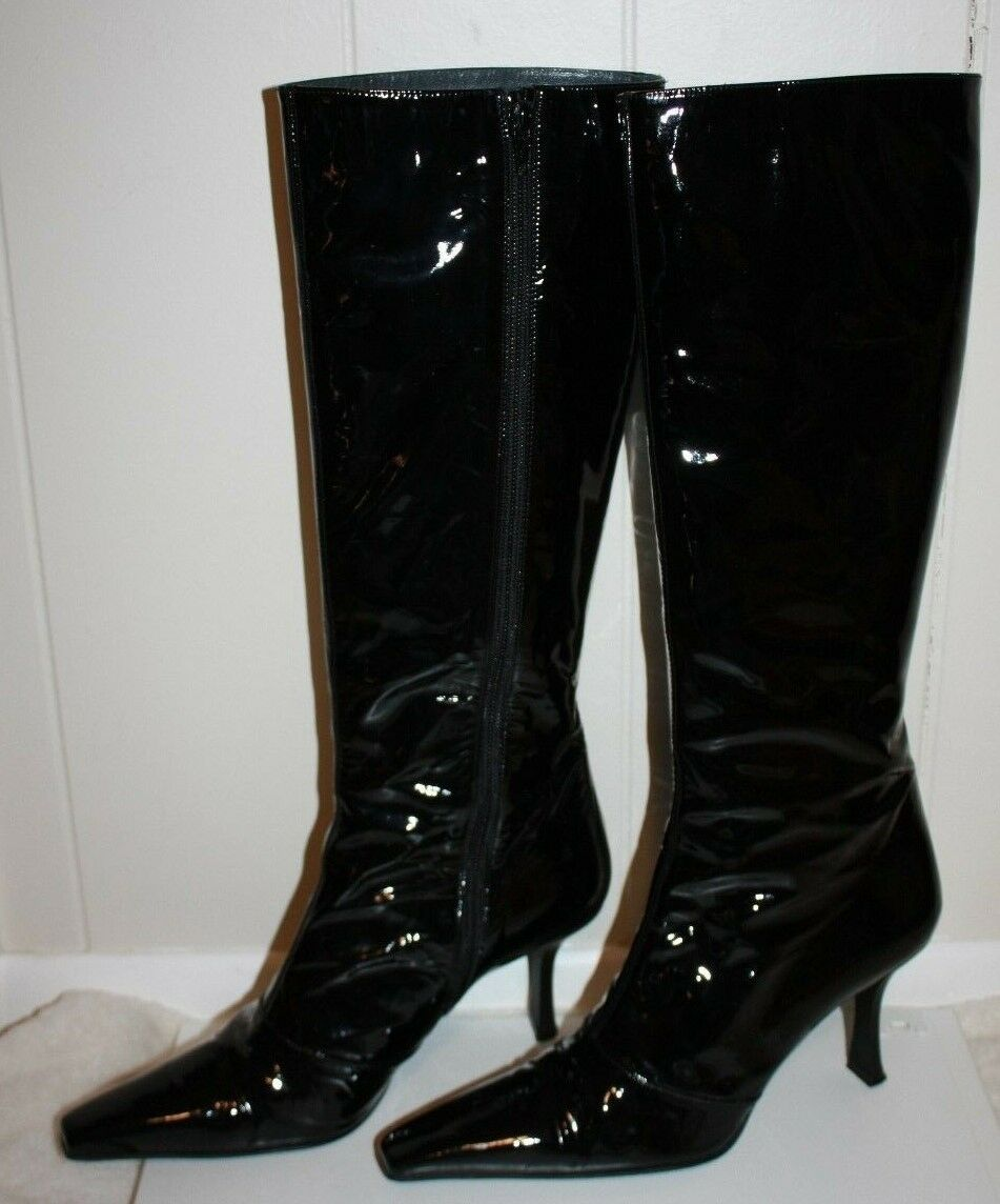 Stuart Stuart Stuart Weitzman Ladies Black Patent Tall 17  Shiny Heeled Zipped Boot Size 7.5 d2a668