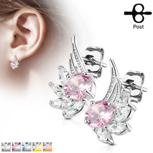 Image Is Loading Pair Of Cz Angel Wings 316l Surgical Steel
