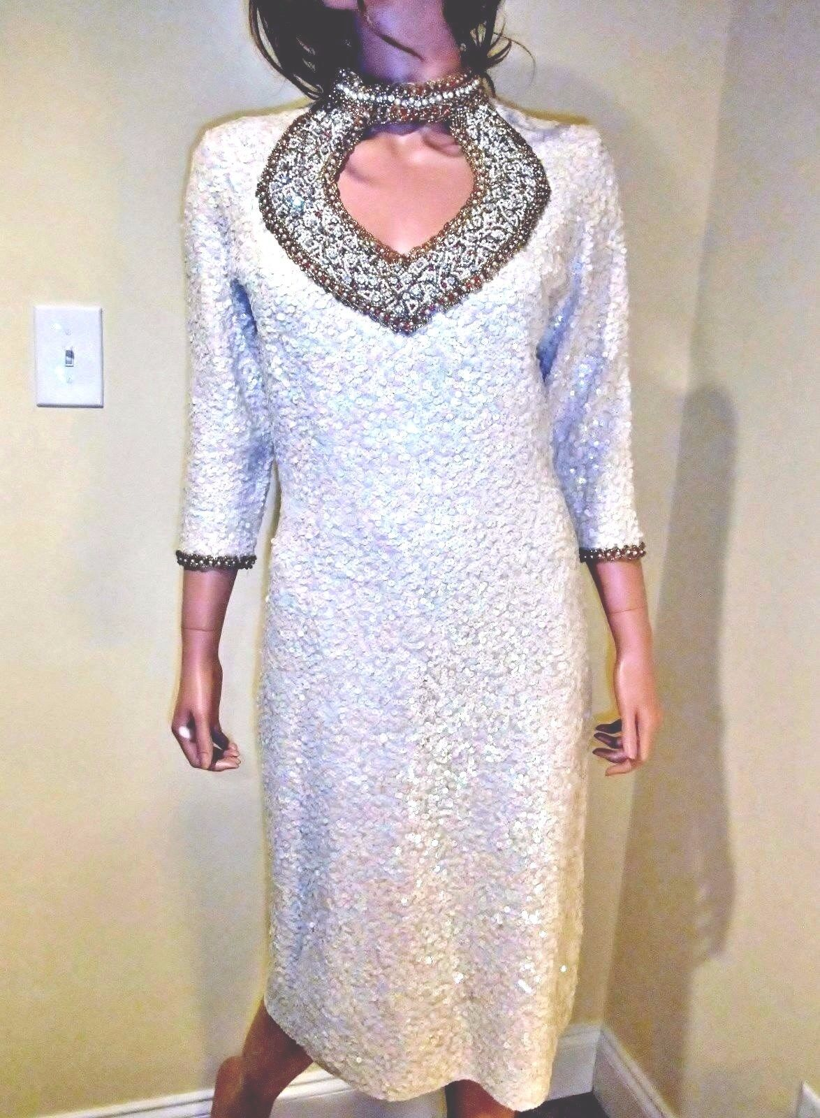 Vintage Gene Shelly's Boutique Internationale Runway Couture Sequin Dress S M