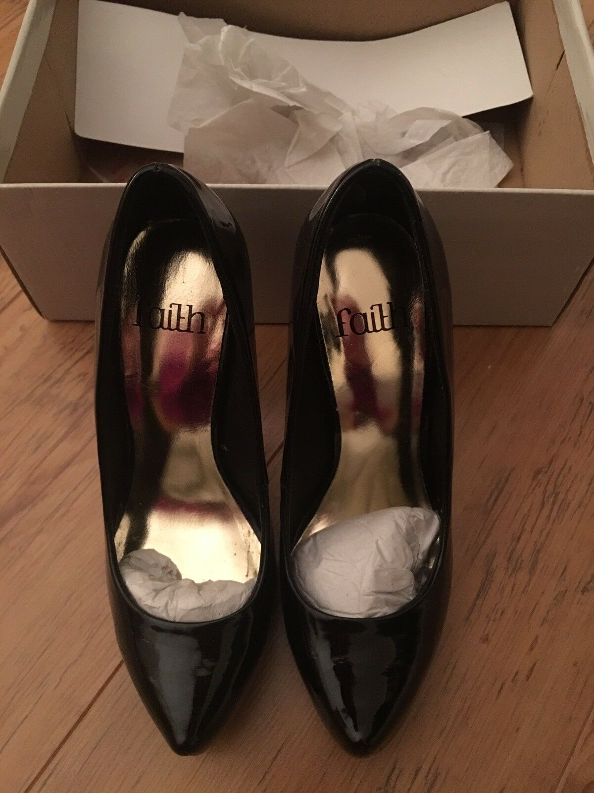 Faith 'Cylea' Black Patent Platform High Heeled Court shoes size 3 New with box