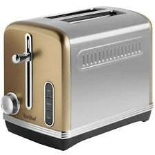 VonShef Toaster 2 Slice Browning Control Removable Crumb Tray Toast Champagne