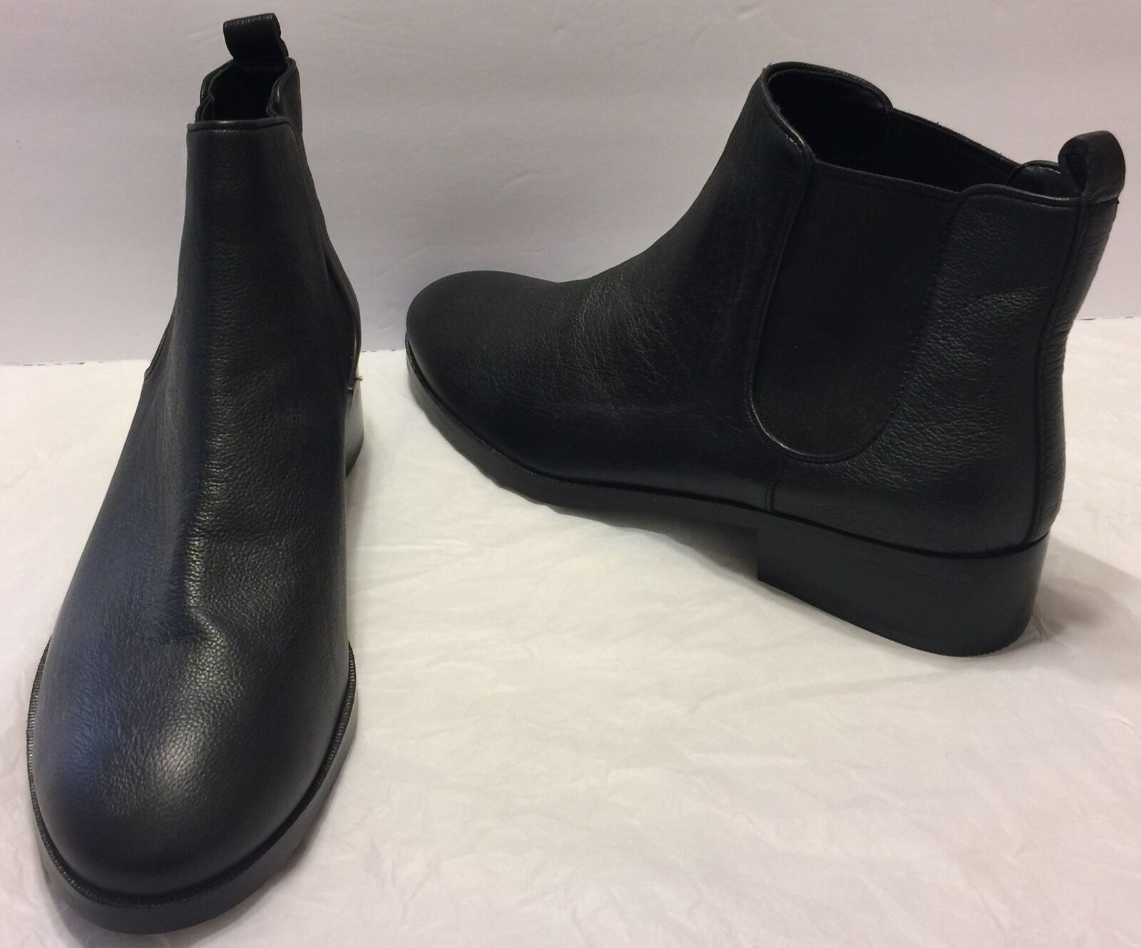 Cole Haan Black Leather Landsman Bootie Chelsea Boots Size 9B 9B 9B Mini Stacked Heel 96c642