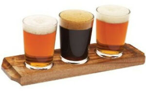 Details About Wooden Beer Tasting Tray 13 Pint Taster Glasses Choose 3 Or 6 Glasses