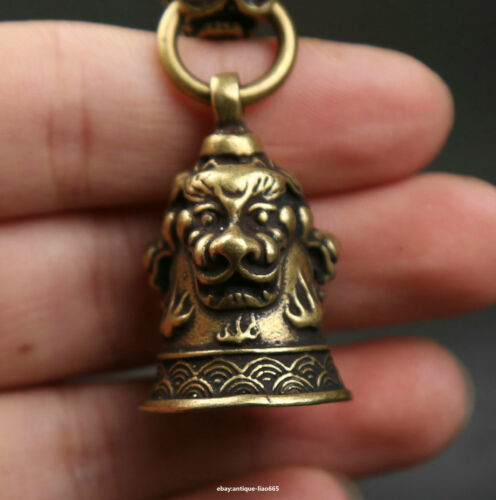 60MM Small Curio Chinese Fengshui Bronze Animal Unicorn Beast Heads Bell Pendant