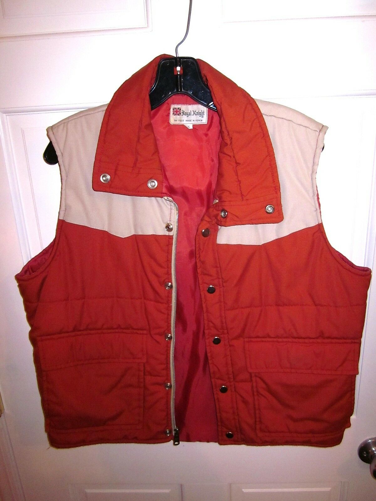 ROYAL KNIGHT men's outdoors vest med 1970s western yoke orange hunting hiking