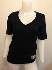NEW HURLEY BASIC BLACK LAYER  BUNNY RABBIT PATCH V-NECK TOP TSHIRT XSMALL