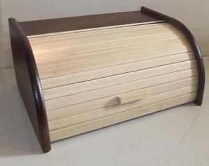 en bois huche pain boite avec rouleau haut bois h tre 40x29 cm nouveau deux ebay. Black Bedroom Furniture Sets. Home Design Ideas