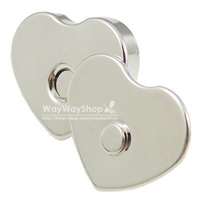 10 Sets 14mm Silver Love Magnetic Snaps Purse Closures