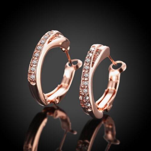SP 1 Paire Boucles d/'Oreilles Anneau Strass Bijoux Fantaisie Cadeau Rose d/'or