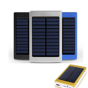 30000mAh Dual USB Solar External Power Bank Battery Charger Pack For Cell Phone
