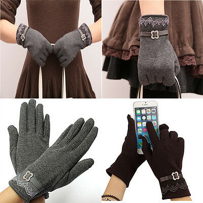 5 Colors Fashion Women Touch Screen Telefingers Lace Edge Warm Velvet Gloves