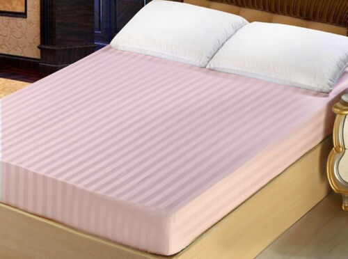 Hotel Collection King Size 100/% Cotton 300TC Fitted Sheet Stripe Pink Blue Green