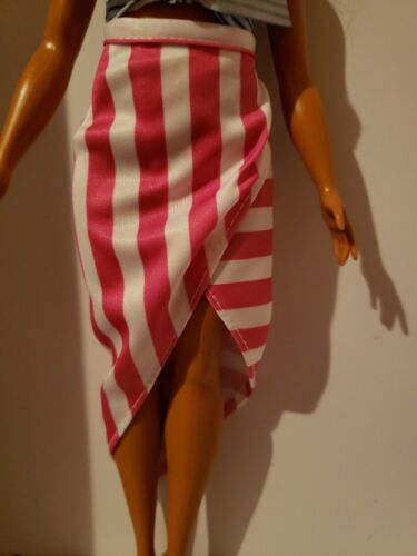 PINK /& WHITE STRIPED ASYMMETRICAL SKIRT  FOR  Barbie doll FITS CURVY