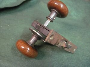 Image Is Loading Antique BROWN Porcelain Door Knobs And Lock Plate