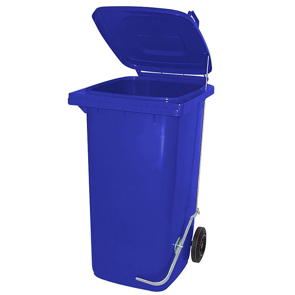 240 Liter Mülltonne Müllgroßbehälter, blau, mit Fußpedal für handfreie Bedienung