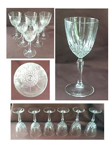 VINTAGE Luminarc Wine Glasses 6 oz. Vertical Cuts Clear 6-Piece Set
