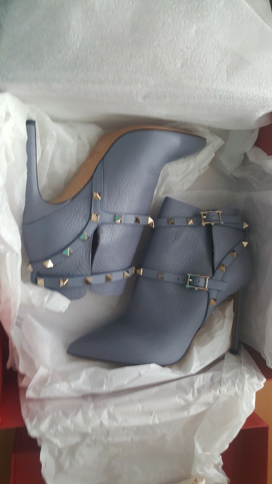 Valentino NIB  1375 rockstud pointy toe booties boots shoes dusty bluee EU 37