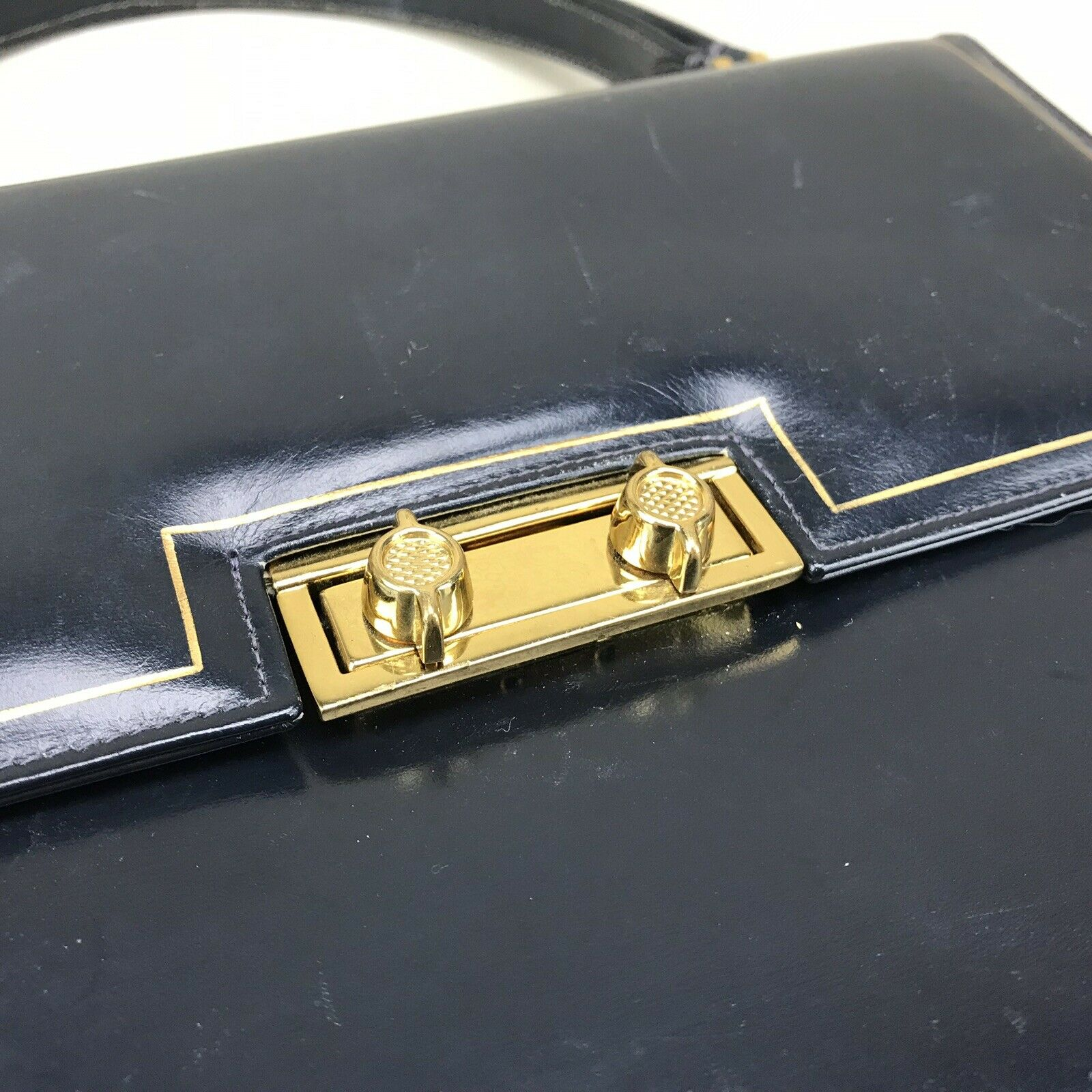 Scuola del Cuoio Vintage 1950s Purse Blue Gold Em… - image 4