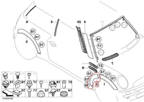 Nero//Grigio BMW Mini One//Cooper//S Destra//Driver//Off Lato Ala Trim R50//R52//R53