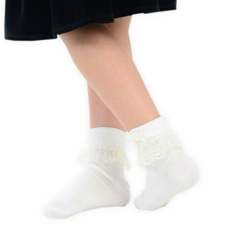 Girls Cream Pink /& White Jester Frilly Lace Socks 1 Pair or Pack of 3