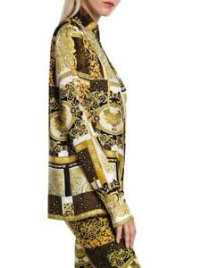 $1175 Versace Baroque Medusa Barocco Button Shirt 40 Patchwork Print Silk Twill