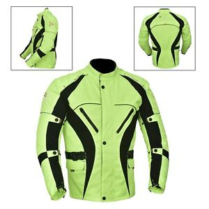 Green-Hivis-Men-039-s-Motorcycle-Motorbike-Jacket-Waterproof-Textile-CE-Armoured