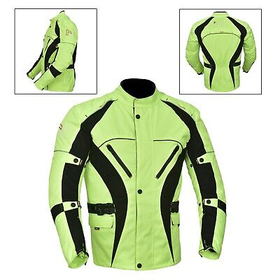 New Mens Motorcycle Motorbike Jacket Waterproof Textile with CE Armoured Green Camouflage