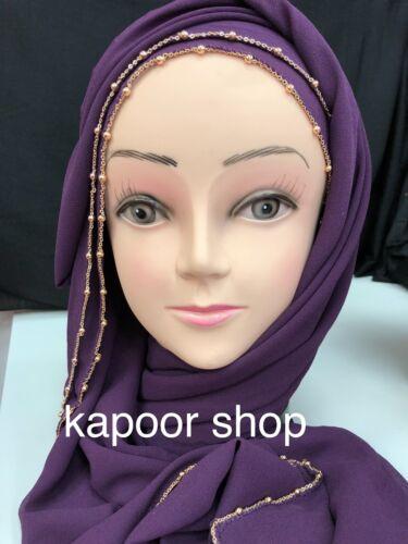 New Plain Chiffon CHAIN BORDER Hijab Scarf Fashion Large Maxi Headscarf