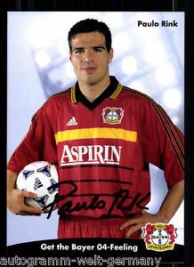 Paulo Rink Autogrammkarte Bayer Leverkusen 1998-99 Original Signiert+A 67812
