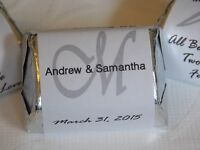 120 Personalized Monogram Wedding Shower Hershey Nugget Labels - Party Favors
