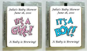 Image Is Loading 15 Baby Shower Party Tea Bag Personalized Labels