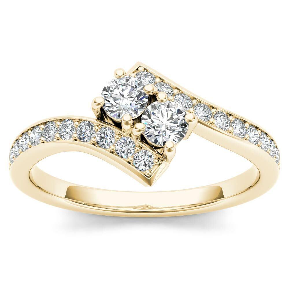 14k Yellow gold 3 4ct TDW Diamond Two-Stone Ring