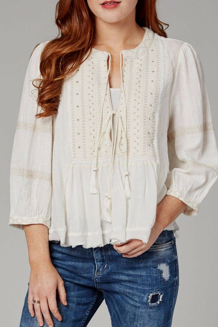 Libre People OB544483 Wild Life Embroiderouge 3 4 longueur Sleeve Top in Ivory  168