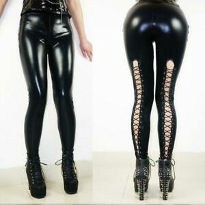 Women/'s Wet Look Push Up Stretchy Pants Faux Leather Skinny Leggings Pencil X904