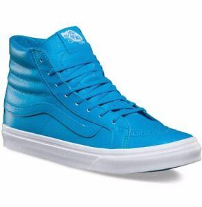 069d4166187548 VANS Sk8 Hi Slim (Neon Leather) Neon Blue Skate Shoes WOMEN S 7