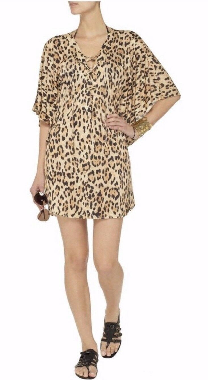 NWT  Melissa Odabash Sinitta Kaftan Dress Resort Cheetah Cover-Up S  220