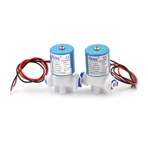 """1DC12V 1//4/"""" Electric Solenoid Valve N//C Feed For RO Water Air Quick Connector SM"""