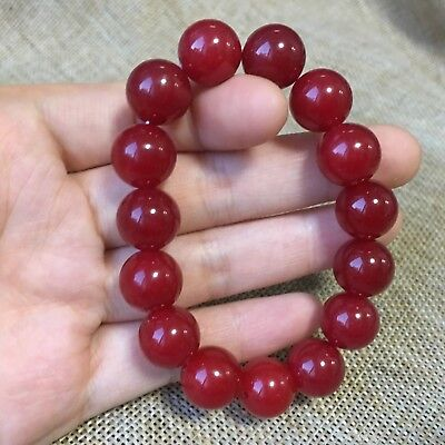 Bracelets Selfless 12mm Nature Red Jade Bracelet Green Hand Catenary Aam0 Asian Antiques